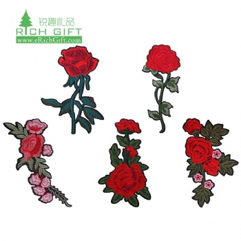 Promotion unique design logo Sew-On heat transfer chenille fabric rose flower floral embroidery patch custom