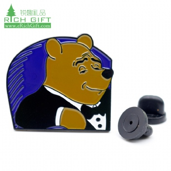custom logo metal clothing cute cartoon kids anime character Winnie the Pooh badges lapel enamel pin for sale