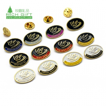 wholesale custom logo design stamping soft enamel oval shape lapel pin with butterfly clutch
