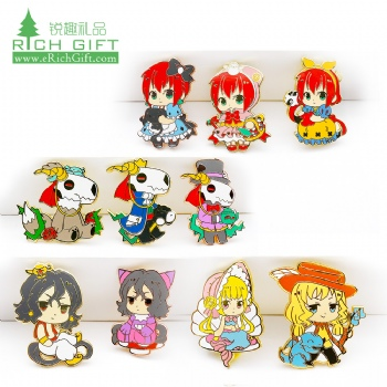 Free sample custom logo metal clothing cute cartoon kids anime character girls bride badges gold hard enamel lapel pin for sale