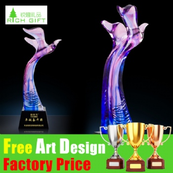 Factory Custom Wholesale Metal Sport Oscar Cup Awards Crystal Resin Gold Silver Chess Trophy for Promotion Gift