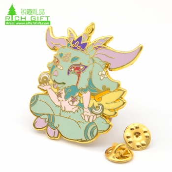 New fashion cartoon metal rose gold plated cute animal custom hard enamel pin