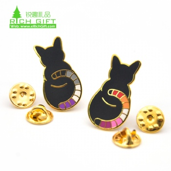 Custom gold plated animal cute cat hard enamel pin with butterfly