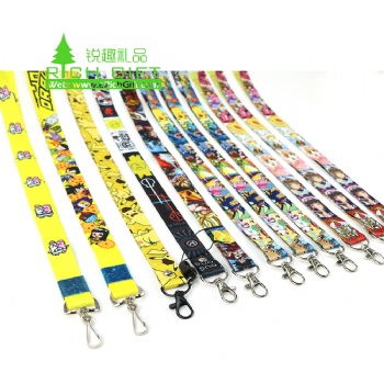 Custom id card cartoon anime dye sublimation print lanyard with hook
