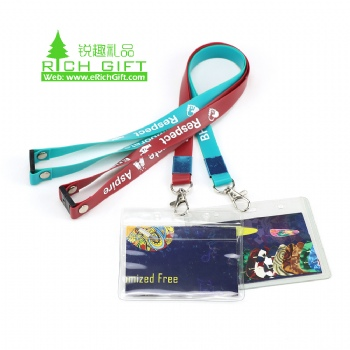 Custom rubber silicone soft pvc neck id card lanyard